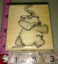 Cartoon elephant, Elly fant, large, mostly animals,C13,rubber stamp, wood