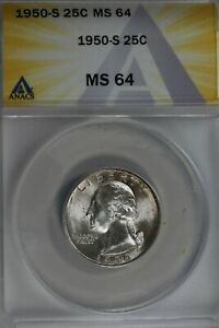 1950-S  .25   ANACS   MS 64   Washington Quarter, Silver 25 Cents (0.25)