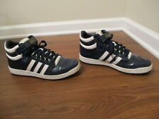 Used Worn Size 9.5 Adidas Concord Mid II Patent Leather Shoes Metallic Navy