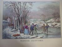Vintage Currier & Ives America Color Print, Winter Pastime