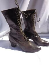 Edwardian Victorian Leather Boots Shoes Witch Granny Steampunk Lace-up Antique