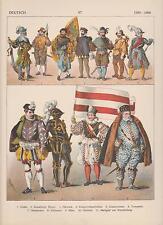 Deutschland Mode um 1500 - 1600 Trachten Ritter Edelmann LITHOGRAPHIE von 1882