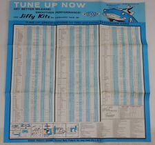 RARE: 1961 Automobile Dealership Carb Tune Up Chart Jiffy Kits Car Advertising
