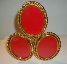 VINTAGE BRASS TRI THREE OVAL PICTURE PHOTO FRAME WITH EASEL