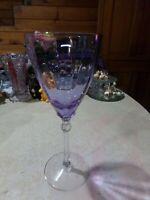 """Fostoria Glass 5098 Wisteria Color Change Blue/Purple Water Goblet Rare 8 1/8"""""""