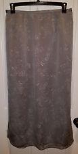 Venezia Long Skirt Silver Gray Skirt with white pattern, Zipper back - Size 14