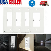 4 X Duplex Night Angel Light Sensor LED Plug Cover Wall Outlet Coverplate US