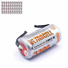 40 pcs SubC Sub C 3300mAh NiMH 1.2V Rechargeable Battery Cell with Tab Ultracell