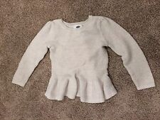 OLD NAVY Girls 4T Ivory&Gold long sleeve sweater with adorable ruffled hem