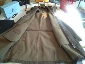 NWT £2500 Corneliani LK Kiton Cucinelli taupe Lambskin shearling coat UK 42 EU52