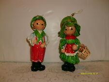 vtg set paper mache christmas ornaments/ decorations/ figures taiwan girl & boy