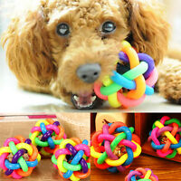 Pet Dog Cat Colorful Dental Teething Healthy Teeth Chew Training Play Ball Toy