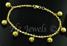 18k yellow gold charm bracelet ball  bracelet  diamond cut 9.00 h3jewels #2862