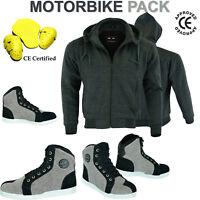 Motorcycle Motorbike Armoured Hoodie Hoody Fleece Jacket Zip Up Removable Armour
