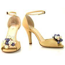 Auth Marc Jacobs Ankle-Strap Peep toe canvas Pumps Heels sz 36 shoes w. balls