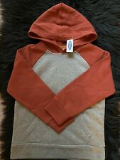 OLD NAVY BOY PULLOVER HOODIE GRAY/ DARK ORANGE SIZE LARGE (10-12). NEW WITH TAG.