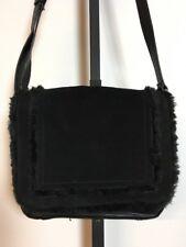 Tignanello Black Leather Faux Fur & Suede Crossbody Handbag
