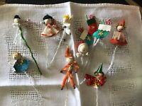 VINTAGE JAPAN CHRISTMAS spun cotton chenille craft picks tie-ons ANGELS Santas