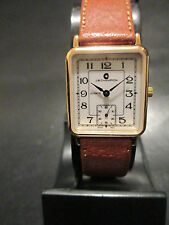 A34 NEW WOMEN'S JB CHAMPION Gold Dress Leather Band WATCH Square VINTAGE Dress