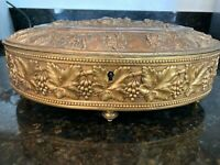 Lovely 19th C. French Large Oval Gilt Bronze Jewelry Box 1880's Signed, MB280