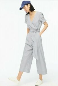 J.Crew Navy Stripe Ruffle Stretch Cotton Poplin Jumpsuit 6 NWT $148 Sold Out!