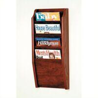 Wooden Mallet 4 Pocket Magazine Wall Rack in Mahogany