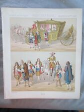 Vintage Print,FRANCE,CARROSSE,REINE,Costume,Historique,1888,Racinet