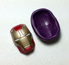 Silicone Mold Big 3D Iron Man Mask (52mm) Cake Topper Sugarcraft Chocolate Clay