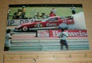 vtg 1980s Tom McEwen Corvette f/c funny car 3x5 drag racing postcard handout exc