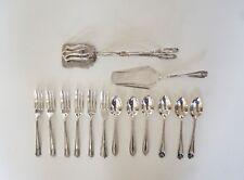 Vintage 6 Silver Plated Cake Forks 6 Tea Spoons Scissor Tongs Cake Slice EPNS
