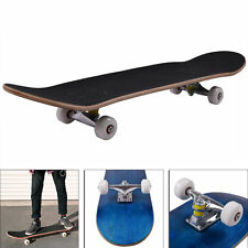 """Blank Complete Skateboard 7.75"""" Mapel wood Stained Black ,Ready to ride Blue"""