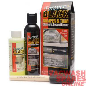 FOREVER BLACK BUMPER & TRIM DYE KIT- RE-COLOUR PLASTIC VINYL RUBBER- NO SILICONE