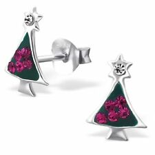 Childrens Kids 925 Sterling Silver Christmas Tree Ear Stud with Crystal-Gift Box
