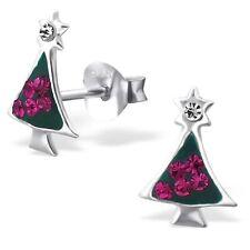 Para Niños Niños 925 Plata Esterlina Oreja Pasador con cristal de árbol de Navidad-Caja De Regalo