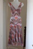 Diane Von Furstenberg 10 Small Sleeveless Silk Tea Dress Pink Brown Leaf Print