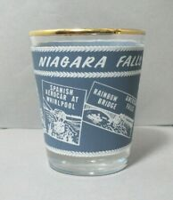 Souvenir Shotglass from Niagara Falls, Canada featuring Iconic Places & Gold Rim