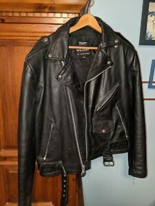 vintage BLACK Leather Motorcycle Jacket fully lined Men/'s size 48 Biker jacket