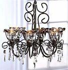 MIDNIGHT BLOOMS CRYSTALS 6 CANDLE HOLDER CHANDELIER & CHAIN ** NIB
