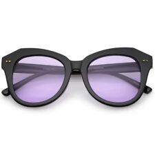 Lunettes de soleil ronds violets en plastique pour femme