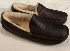 UGG ASCOT 5379 MEN'S SLIPPERS CHINA TEA LEATHER NEW* SZ 8 100% AUTHENTIC