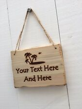 Handmade Personalised Rustic Wooden Island Beach Seaside Holiday Sign Plaque