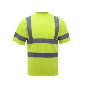 Hi Vis High Visibility T-Shirt ANSI Class 2 Safety Short Sleeve Yellow