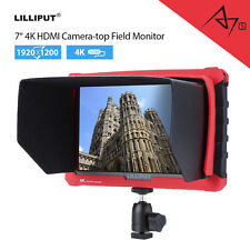 """Camera Top Monitor 7"""" Display -Hot Shoe Mount with HDMI Input F970 Battery Plate"""
