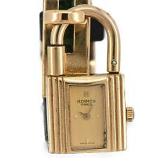 Auth HERMES KELLY WATCH GP/Leather Gold Dial Quartz Women's Watch J#92556