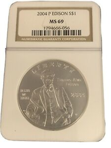 2004-P US Thomas Alva Edison Commemorative BU Silver Dollar - NGC MS69 B-16
