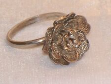 Vintage SILVER FILIGREE ROSE RING Old Cannetille Flower Artisan Handmade