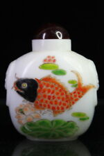 Collect Handwork Wonderful Agate Paint Red Carp & Lotus Exquisite Snuff Bottles
