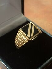 *LOOK* 9ct Gold Gents Gold Banded Onyx Signet Ring Size U 3.5g +box Lovely Ring