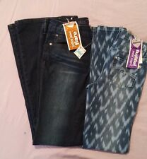 Girls size 14 Justice jeans lot of 2. Blue flare leg blue geometric Jeggings.