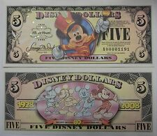Disneyland 2008 Mickey Mouse 80th $5 Five Disney Dollar Mint A00001219